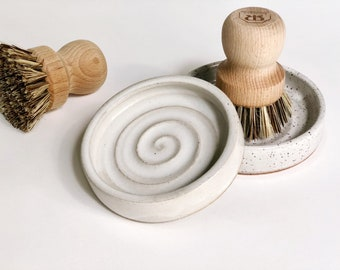 Pottery Scrub Brush Holder / Catch All Dish  / Jewelry Dish / White OR Speckled