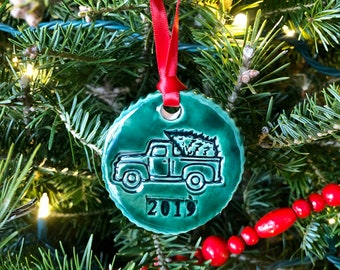 Green Ornament / Handmade Ornaments / Pottery / Porcelain Ornament / Handmade / 2019 Ornament/ Farmhouse / French Country /