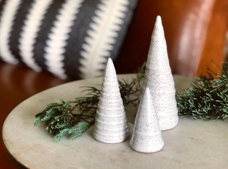 White Speckled Christmas Tree Set / Ceramic Trees / Handmade image 0