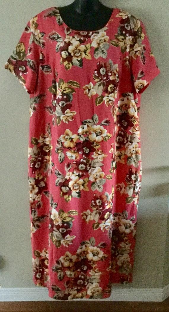 bd095d7727c Vintage Jessica London 24WT Linen and Rayon Floral Dress