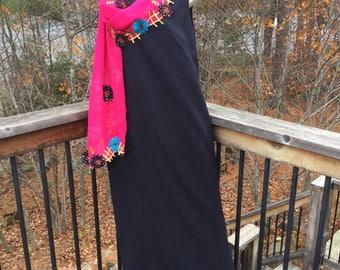 Marks and Spencer shift dress, charcoal grey, midi length, size 16, vintage,