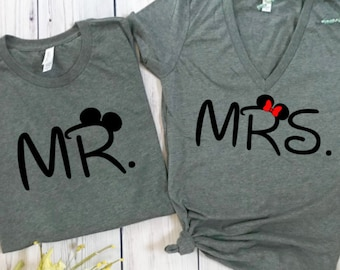 mr and mrs disney, disney couples shirts, disney shirts, disney marriage shirts, disney wedding, wedding shirts, mr and mrs, hubby wifey