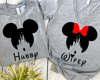 hubby and wifey disney, disney couples shirts, disney shirts, disney marriage shirts, disney wedding, wedding shirt, mr and mrs, hubby wifey