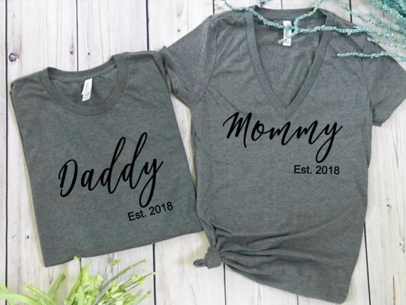 Pregnancy Announcement Shirts Daddy Mommy Baby Shower Gift Etsy