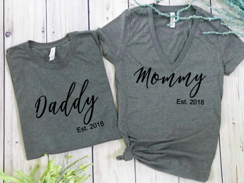 image 0 ... & Pregnancy announcement shirts daddy mommy baby shower gift | Etsy