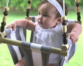 Baby swing, Cloth swing, Gray swing, baby shower gift, baby furniture, nursery swing, indoor/ outdoor swing