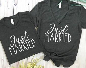 Just Married matching shirts, honeymoon vibes, honeymoon shirts, wedding shirts, wedding gift, bridal shower gift