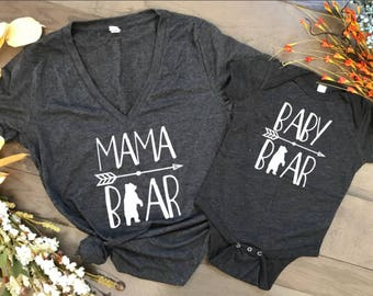 Mama Bear Baby Bear shirt set, mama bear shirt baby bear shirt baby shower, birthday, mothers day gift, pregnancy announcement