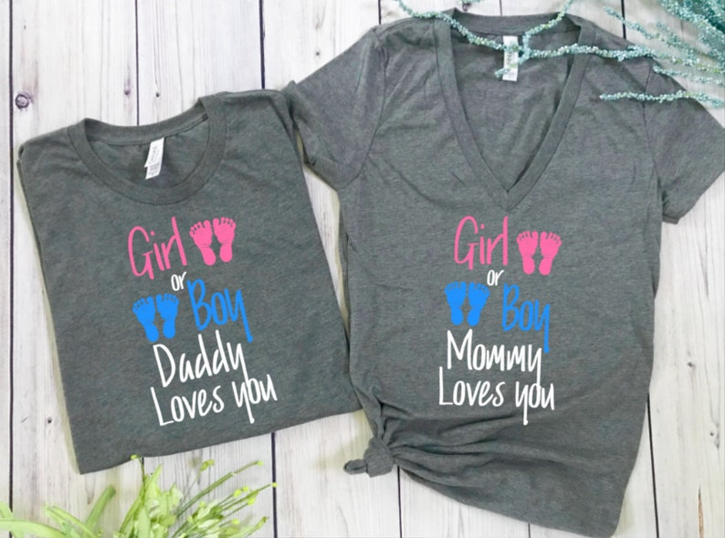 fa9e5c56 Gender Reveal shirts pregnancy reveal shirts mommy and daddy | Etsy