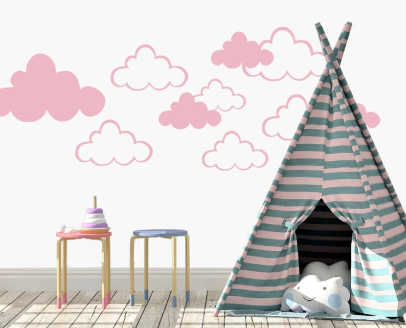 modern decal vinyl wall decal baby shower gift nursery decal cloud decal Cloud Wall Decal Children/'s room wall decal teepee decal
