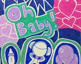 hand drawn new baby pregnancy card