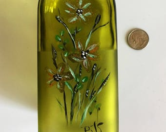 hand painted green bottle