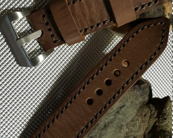 Leather Watch Strap 24mm Handmade Genuine Leather watch band, PAM #150