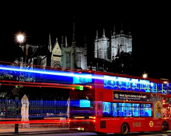 Digital Download Photography - Westminster London England Night Bus