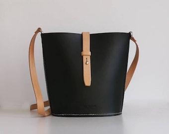 SALE Handmade Leather Bag, Bucket Bag, Handbag, Cross Body Bag, Shoulder Bag with Vegetable Tanned Leather