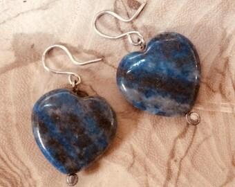 Lapis Blue Sterling Silver Heart Earrings