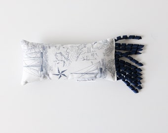 Crinkle and Rattle Large Kicker Pillow Ribbon Catnip Cat Toy | Navy Nautical