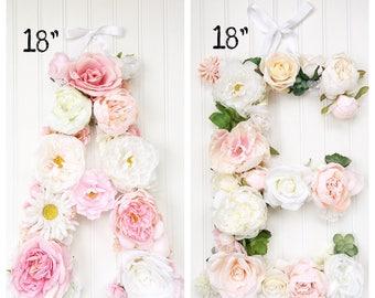 Floral Letter, Flower Letter, Nursery Wall Art, Monogram, Baby Gift, Kids Room, Initial, Shabby Chic, Nursery, Home Decor, Wedding Monogram