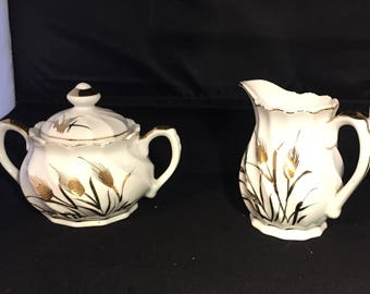 Vintage 1950's Lefton China Hand Painted Wheat Cream, Sugar Bowl