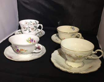 Vintage Mismatched China Tea Cups and sauces~Tea Party~4 Sets~Wedding Decor
