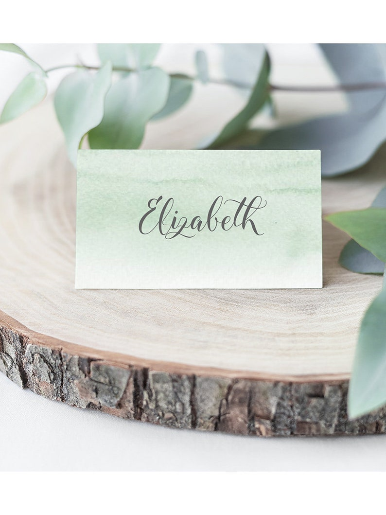 Leaves Editable pdf Templett Tent Wedding Name Cards DIY Printable Decorations Printable Place Cards INSTANT DOWNLOAD Minty