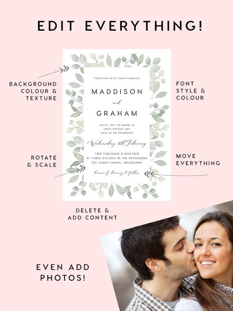 Welcome Sign INSTANT DOWNLOAD Editable PDF Rustic Welcome Sign Wedding Welcome Sign Rustle Welcome to Our Wedding Sign Greenery