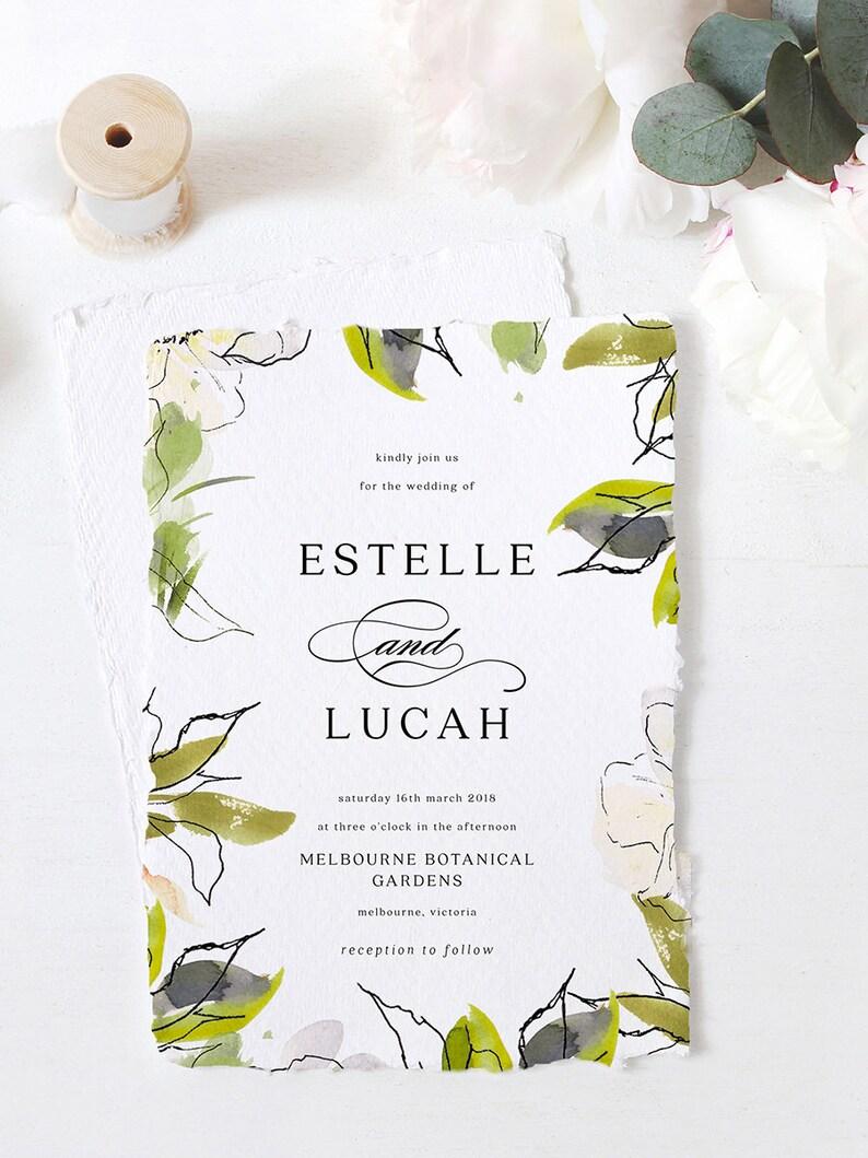 Leaves Wedding Invite Rustic Invite Green Wedding Invite Fernery Editable PDF Rush Order Greenery Wedding Invite Set INSTANT DOWNLOAD