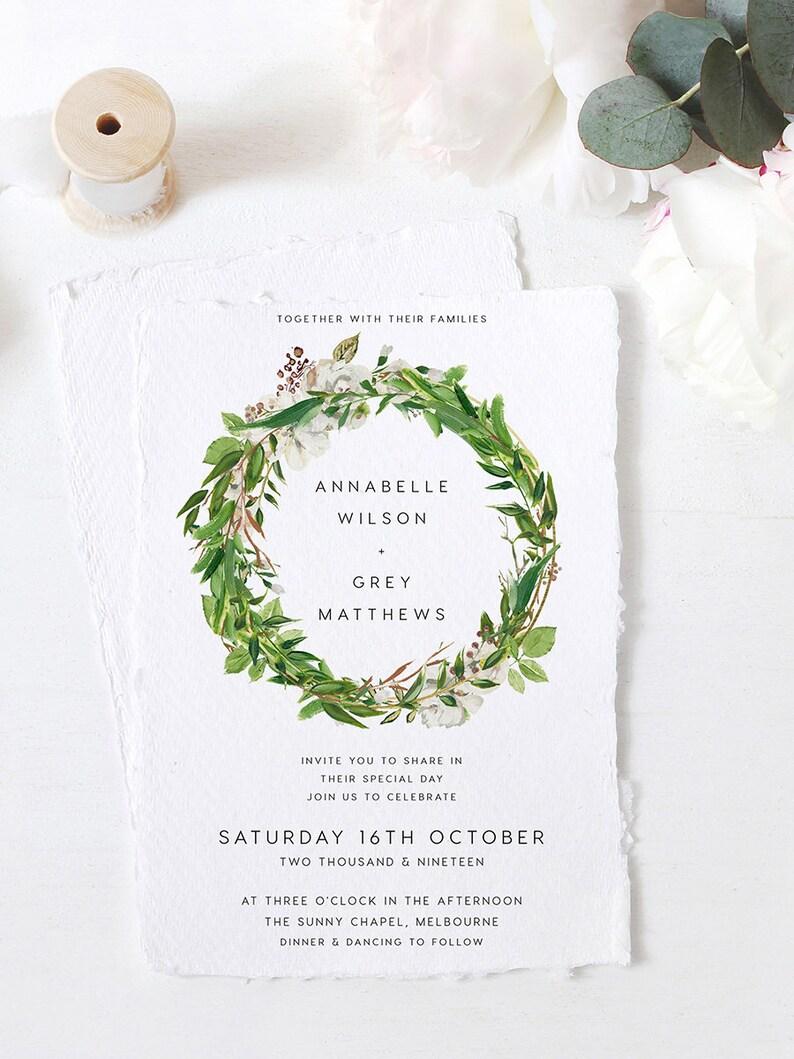 Editable PDF Rush Order Greenery Wedding Invite Dreamer Green Wedding Invite Rustic Invite Leaves Wedding Invitation INSTANT DOWNLOAD