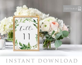 Printable Table Numbers, INSTANT DOWNLOAD, Seating Chart, Table #, DIY Rustic Wedding Reception, pdf, Digital File - Woodland
