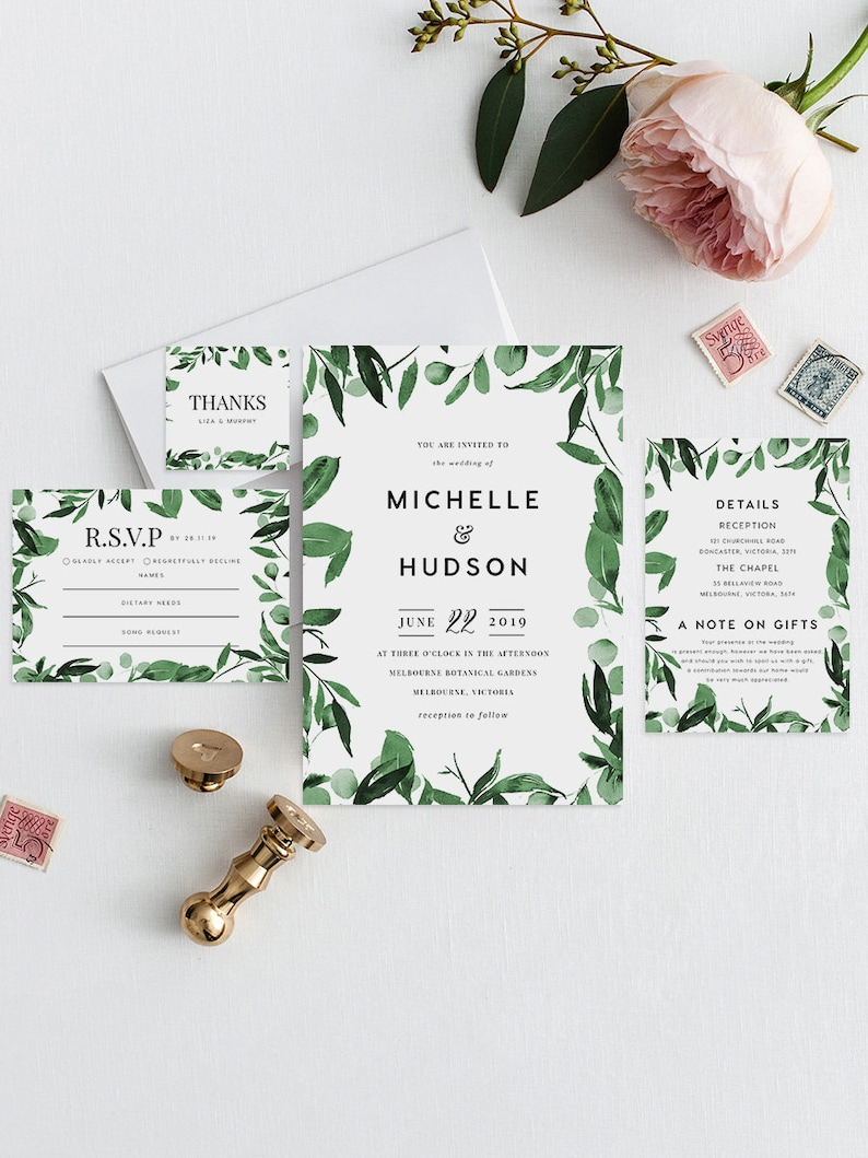Editable PDF Rush Order Rustic Invite Majesty Greenery Wedding Invite Set INSTANT DOWNLOAD Green Wedding Invite Leaves Wedding Invite