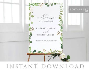 Welcome Sign INSTANT DOWNLOAD Editable PDF, Welcome to Our Wedding Sign, Wedding Welcome Sign, Rustic Welcome Sign - Woodland