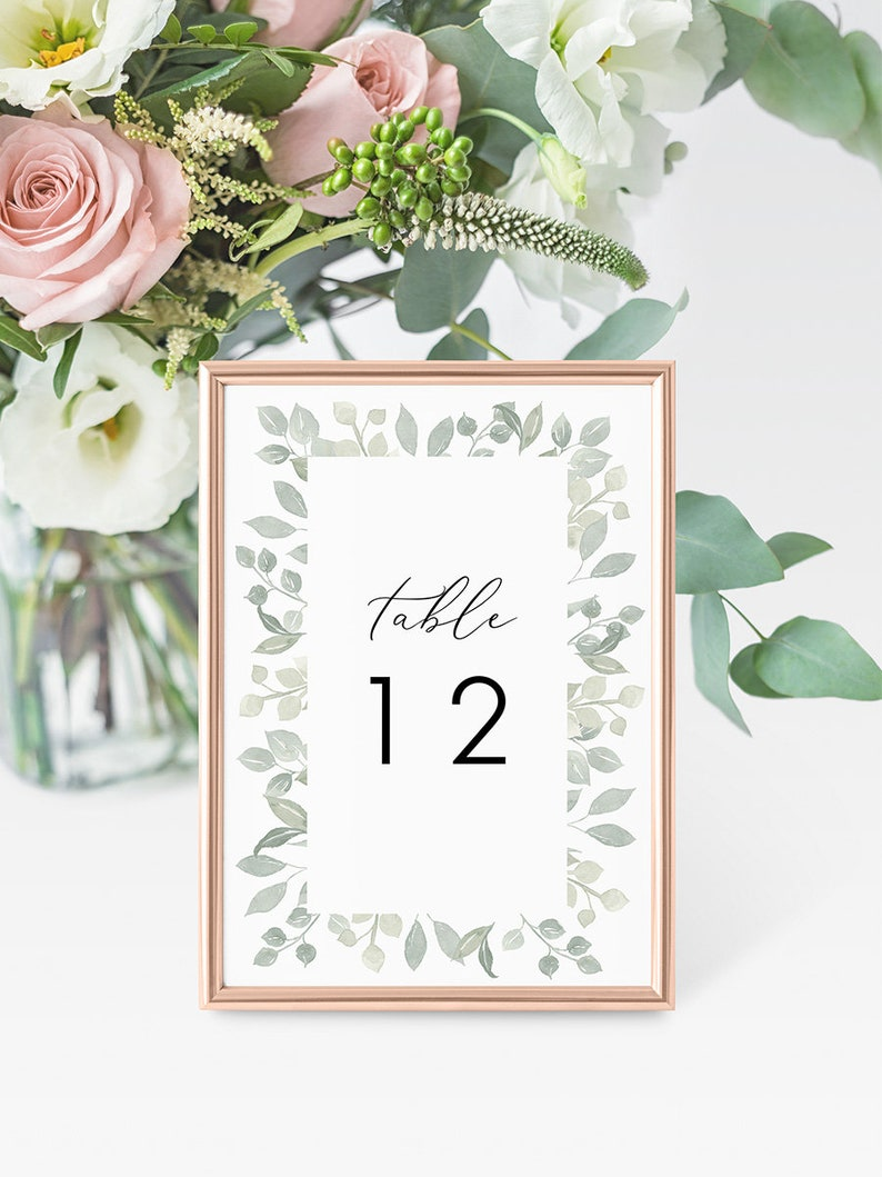 image about Diy Printable Table Numbers referred to as Printable Desk Quantities Instantaneous Obtain, Marriage Desk Figures Do-it-yourself Printable Decorations, Templett, Editable pdf, Greenery, Leaves, Bramble