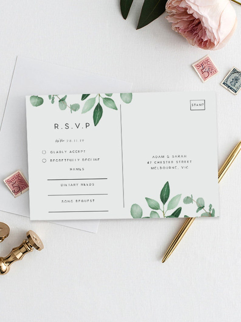 Eucalyptus Rsvp Postcard Printable INSTANT DOWNLOAD Templett Greenery Editable pdf Wedding Rsvp Card DIY Printable Invitation