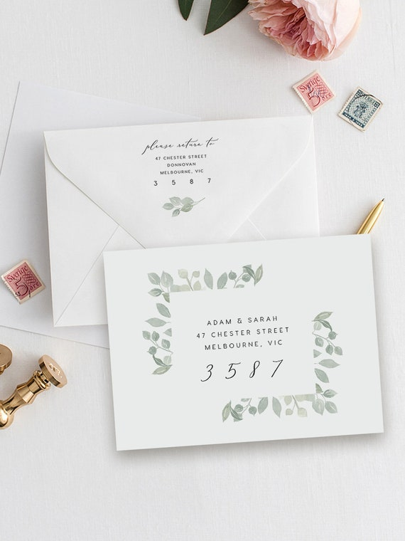 Blush DIY Printable Sticker Templett Greenery Green Leaves Address Label Printable Editable Rustic Envelope Address INSTANT DOWNLOAD