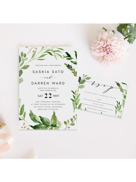 Editable PDF Rush Order Green Wedding Invite Rustic Invite Leaves Wedding Invitation INSTANT DOWNLOAD Fieldling Greenery Wedding Invite
