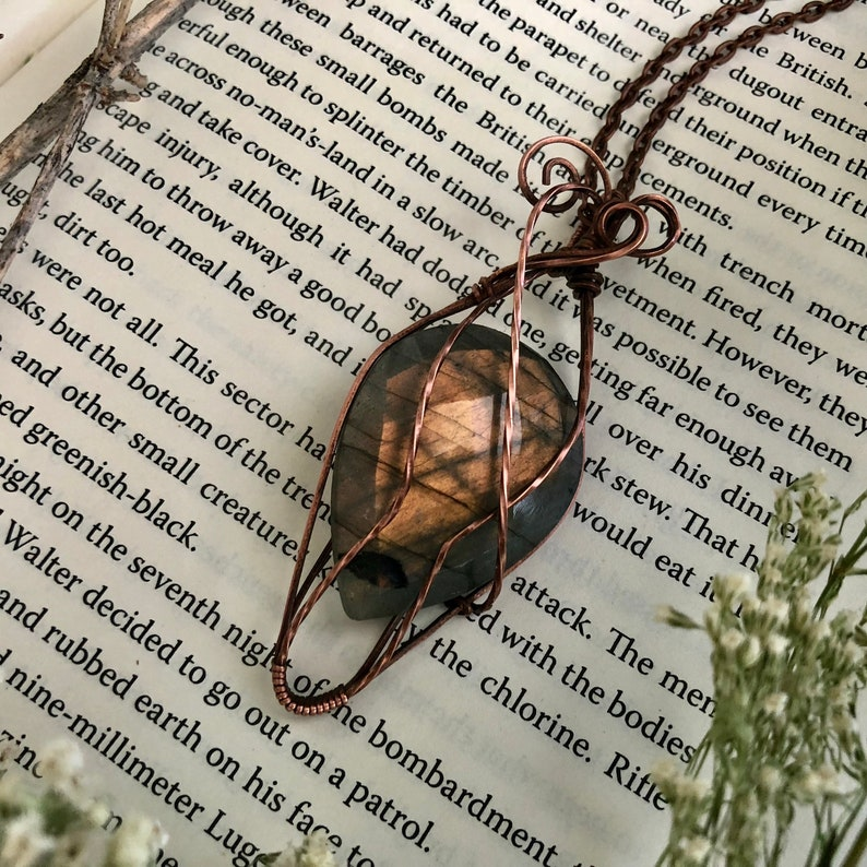 98e57d7f47b98 Elven Labradorite Pendant - Handmade Woven Copper Teardrop Necklace -
