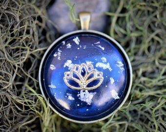 Gold Lotus Pendant: Gold Lotus Charm, Silver Flakes, Brass Bezel