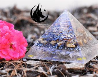 Orgone Pyramid/Orgone Generator: Quartz, Copper, Silver/Bronze Gears, Dried Rose Buds, Silver BB's, Rose Quartz