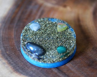 Orgone Positive Energy Device - Charging Plate  - Quartz -  Hematite - Malachite - Unakite - Blue Calcite - Brass - Glow In Dark