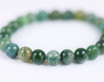 Moss Agate 100% Natural Stone Healing Stretch Bracelet ~ BALANCE