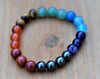 Chakra Healing 100% Natural Stone Stretch Bracelet ~ Root, Sacral, Solar Plexus, Heart, Throat, Third Eye