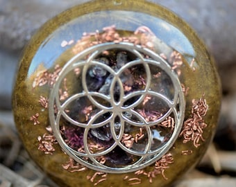 Seed Of Life Pendant: Silver Seed of Life, Amethyst, Copper, Silver Bail
