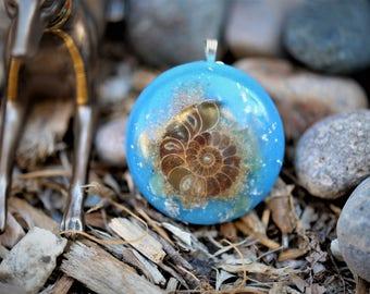 Ammonite Orgone Pendant/Orgone Jewelry: Quartz, Ammonite, Aventurine Crystals, 24K Gold, Glow in the Dark (Sky Blue)