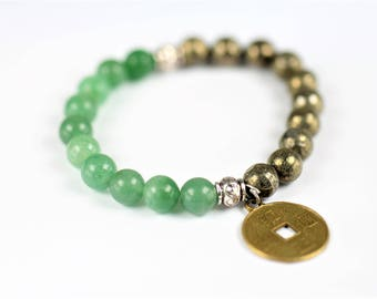 Pyrite and Green Aventurine 100% Natural Stone Healing Stretch Bracelet with Chinese Coin Charm ~ MONEY