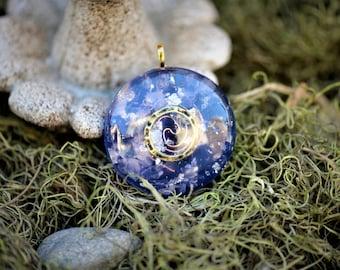 Orgone Pendant: Brass Ring, Amethyst, Quartz, Rose Quartz, Silver, Copper Coil