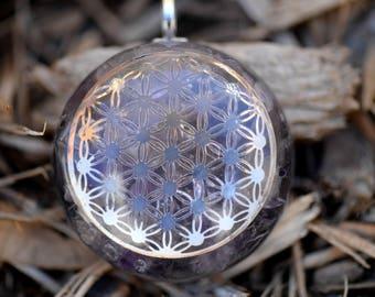 Flower Of Life Pendant/Orgone Jewelry: Quartz, Flower of Life, Amethyst, Rose Quartz