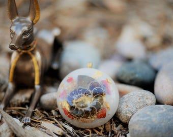 Ammonite Orgone Pendant/Orgone Jewelry: Quartz, Ammonite, Red Jasper, 24K Gold, Glow in the Dark (White)