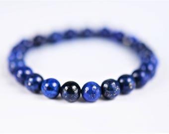 Lapis Lazuli 100% Natural Stone Healing Stretch Bracelet ~ POWER