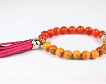 Orange Carnelian Natural Stone Mala Stretch Bracelet~ MOTIVATION
