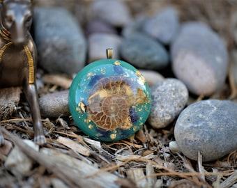 Ammonite Orgone Pendant/Orgone Jewelry: Quartz, Ammonite, Amethyst Crystals, 24K Gold, Glow in the Dark (Green)